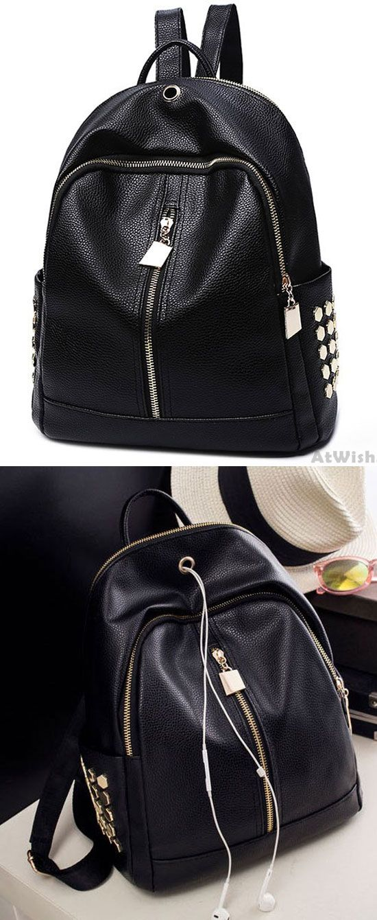 744c891206 ... Black PU Lichee Pattern Punk Rivet Zipper School Headphone Hole College  Backpack for big sale!  rivet  Backpack  bag  rucksack  school  college   travel ...