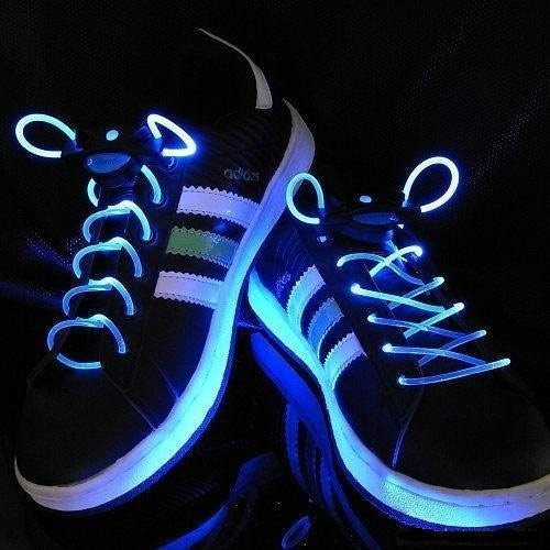 Blue White EL Wire Shoe Lace: Lights, Shoes, Stuff, Style, Gift Ideas, Led Shoelaces, Products, Kid