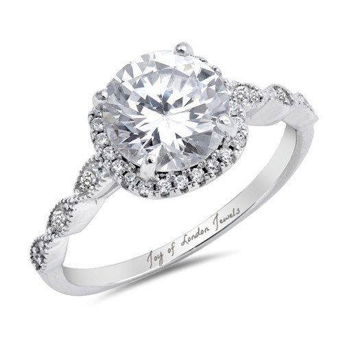 A Perfect 1.9CT Round Cut Solitaire Halo Russian Lab Diamond Engagement Ring