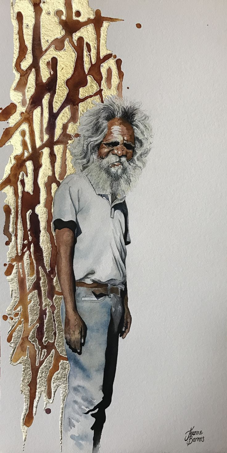 'Alex' Watercolour and gold leaf on paper by Jeanne Barnes. Sold