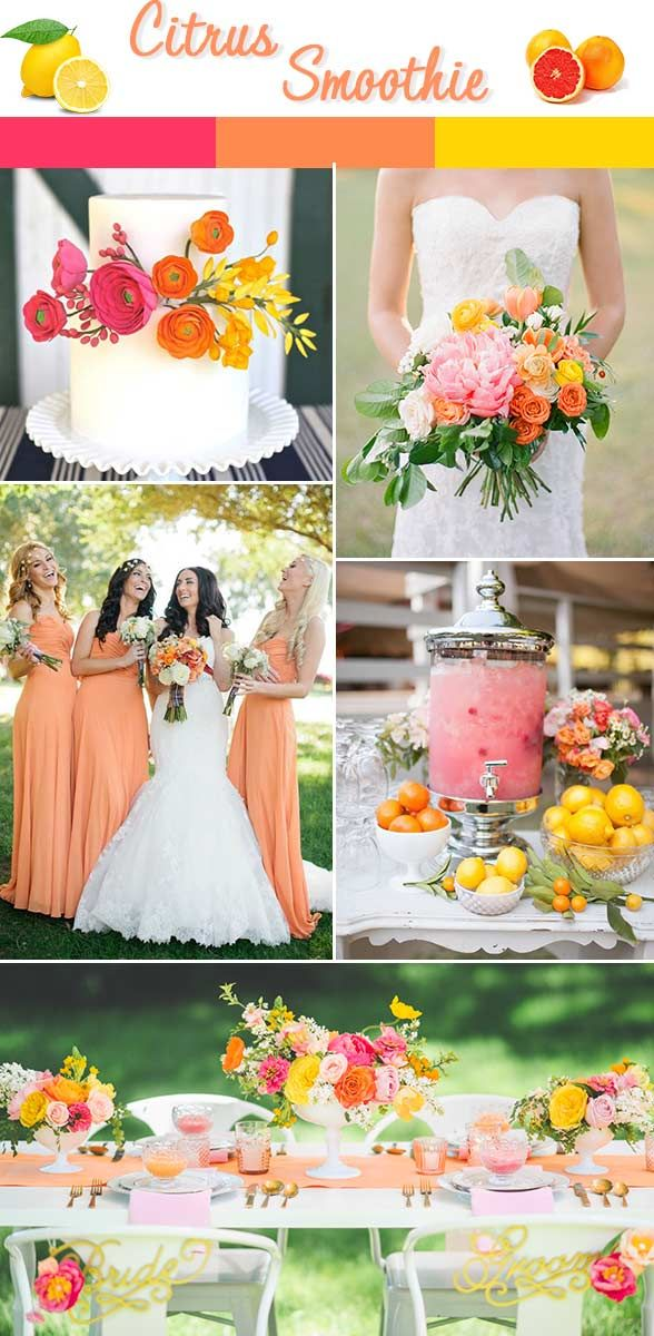 For the bold and colorful bride, fuchsia, tangerine and a bold yellow are the it-colors this spring. Paired with a clean white table and gorgeous white gown, your wedding is guaranteed to pop!