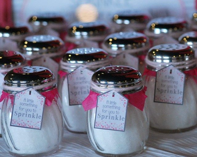"""Fun favors at a Gray and Pink """"Sprinkled with Love"""" Baby shower!  See more party ideas at CatchMyParty.com!  #partyideas #babyshower"""