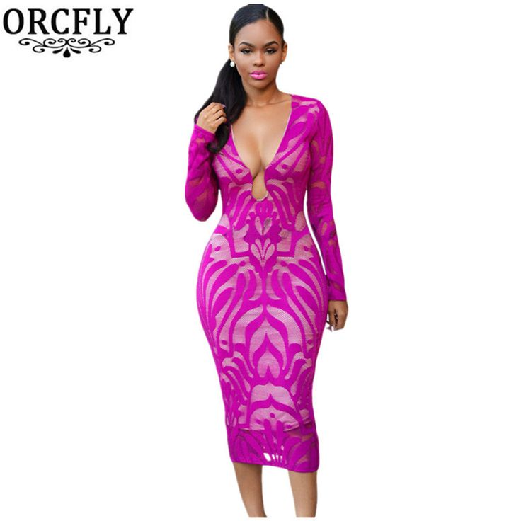 ORCFLY 2016 Autumn Winter Dresses Fuchsia Lace Nude Low Neckline Long Sleeve Midi Dress 60837 Plus Size V Neck Vintage Dress