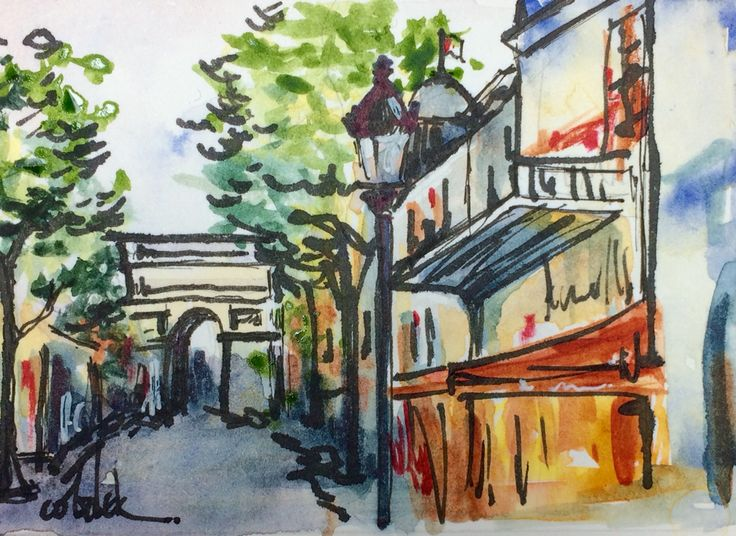 Paris watercolour and ink painting by Christy Obalek.  ACEO size (trading card): 2.5x3.5""