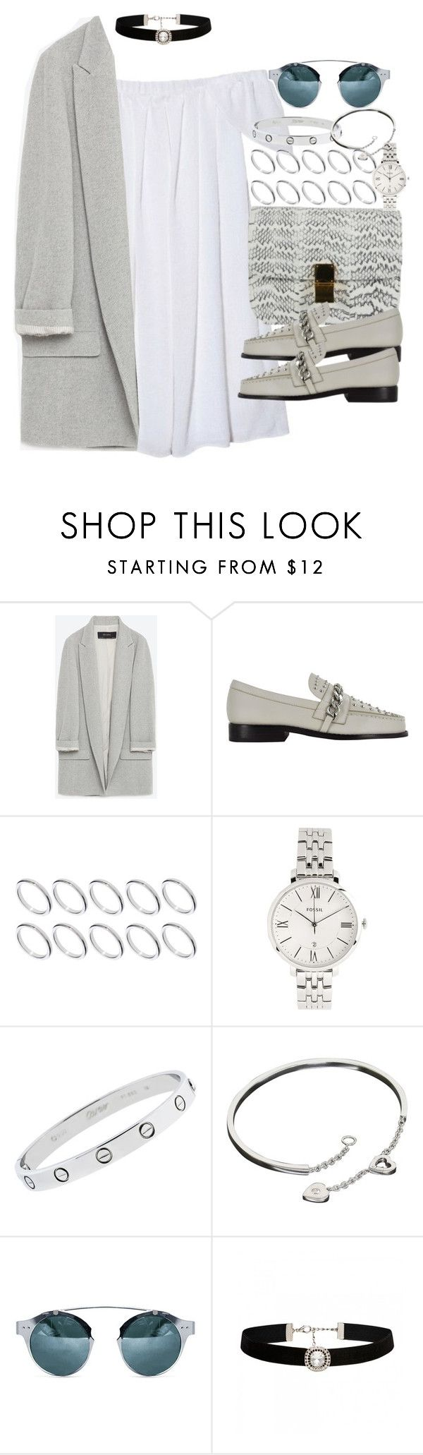 """""""Sin título #3698"""" by hellomissapple on Polyvore featuring moda, Zara, ASOS, FOSSIL, Cartier y Forever New"""