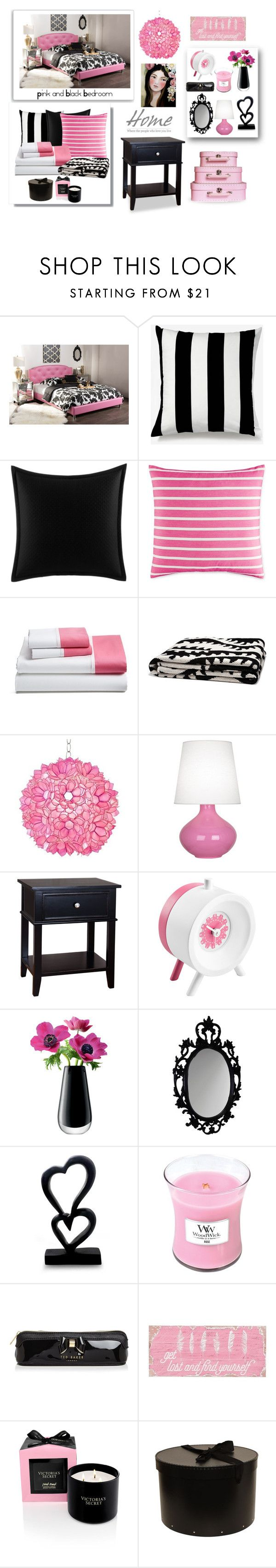 """""""Pink and Black Bedroom"""" by terry-tlc ❤ liked on Polyvore featuring interior, interiors, interior design, home, home decor, interior decorating, Baxton Studio, Unison, Betsey Johnson and Kate Spade"""
