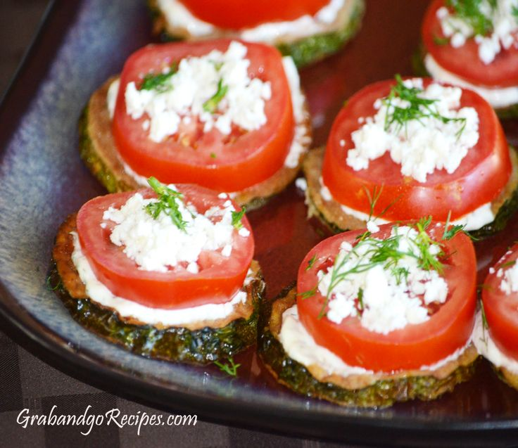 Zucchini Rounds with Tomato and Feta