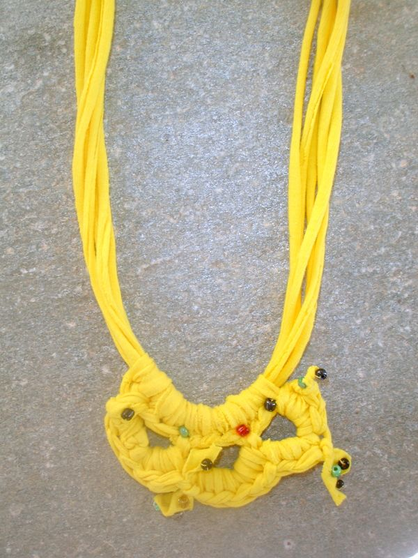 upcycled pendant from yellow t-shirt