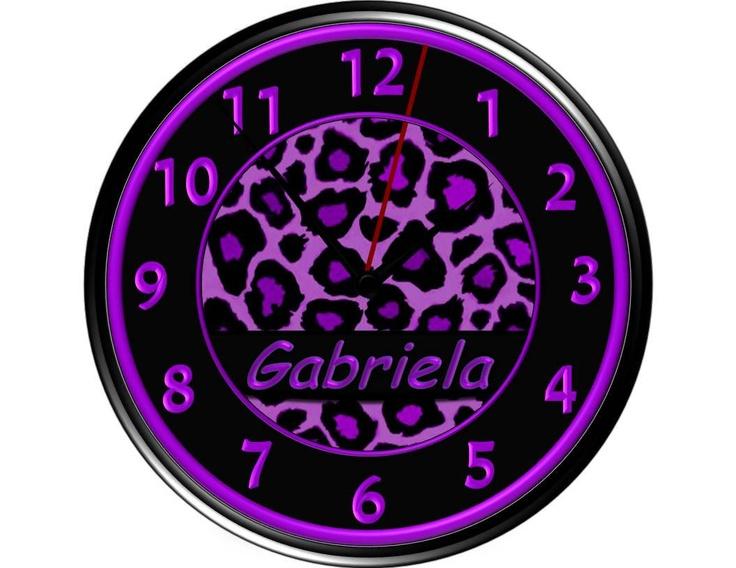 Purple Leopard Wall Clock Personalized by debbieshine on Etsy