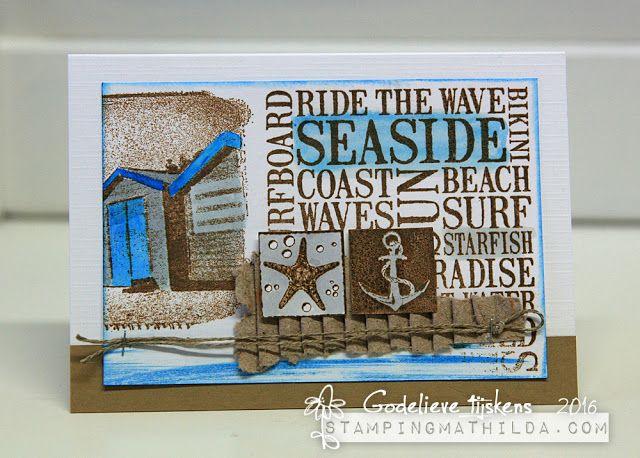Card by Godelieve Tijskens using Darkroom Door Seaside Word Block Stamp, Seaside Inchies and Seaside Vol 2 Rubber Stamp Sets.