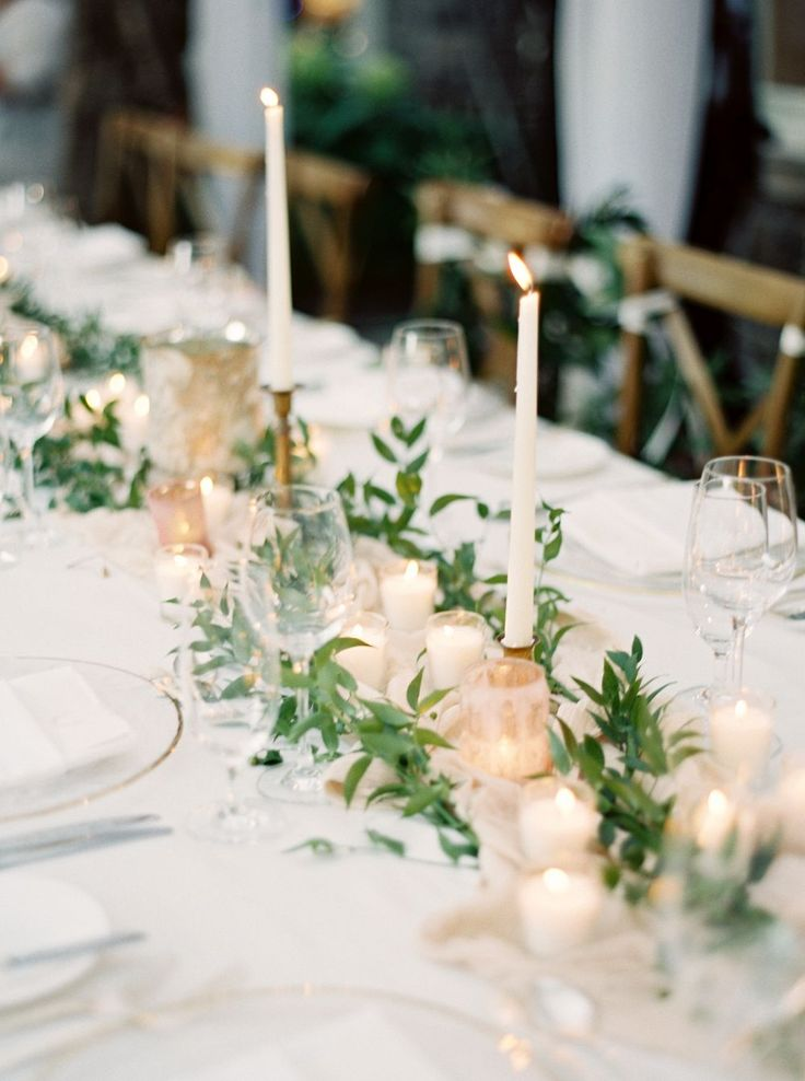 Table garland and candles - Romantic and Organic Blush Real Wedding
