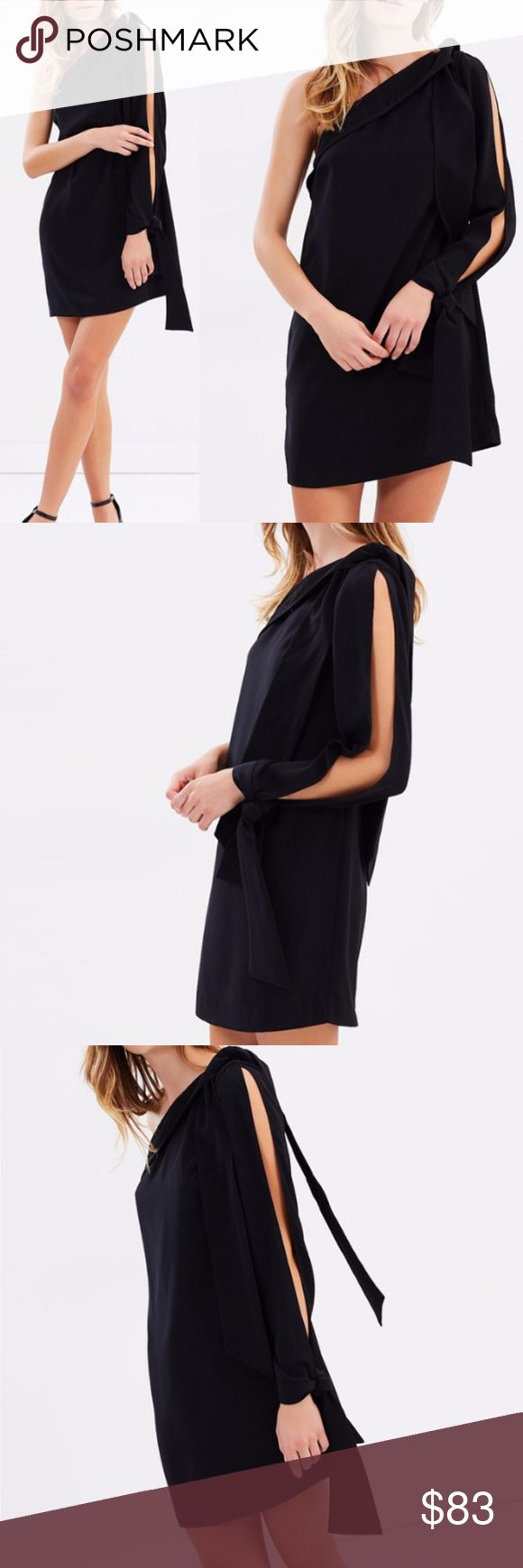 NWOT Keepsake Black Mini Dress Boxy One-shoulder New without tag Keepsake the label  Putting a contemporary spin on the little black dress,  Keepsake the Label deliver the All Tied Up Dress.  Featuring a one-shoulder design, the single sleeve is split through the top.  - Length: 82cm (size small)  - Boxy silhouette - Lightweight, woven fabric; lined - Black shade - One-shoulder design; fold-over neckline - Single split long sleeve Size S Main and lining 100% Polyester KEEPSAKE the Label…