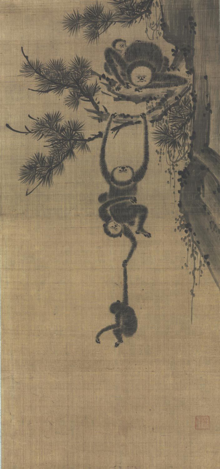 """Gibbon Family in Pine Tree, Seo Taek, Korean Geography: Made in Korea, Asia Period: Joseon Dynasty (1392-1910) Date: Late 18th - 19th c Medium: Ink on silk, mounted as a hanging scroll Dimensions: Image: 33 1/8 × 15 3/4 inches (84.1 × 40 cm) Mount: 66"""" × 20 1/4"""" (167.6 × 51.4 cm) Curatorial Department: East Asian Art Object Location: Currently not on view Accession Number: 2010-210-1 Credit Line: Gift of George M. Cheston, 2010"""
