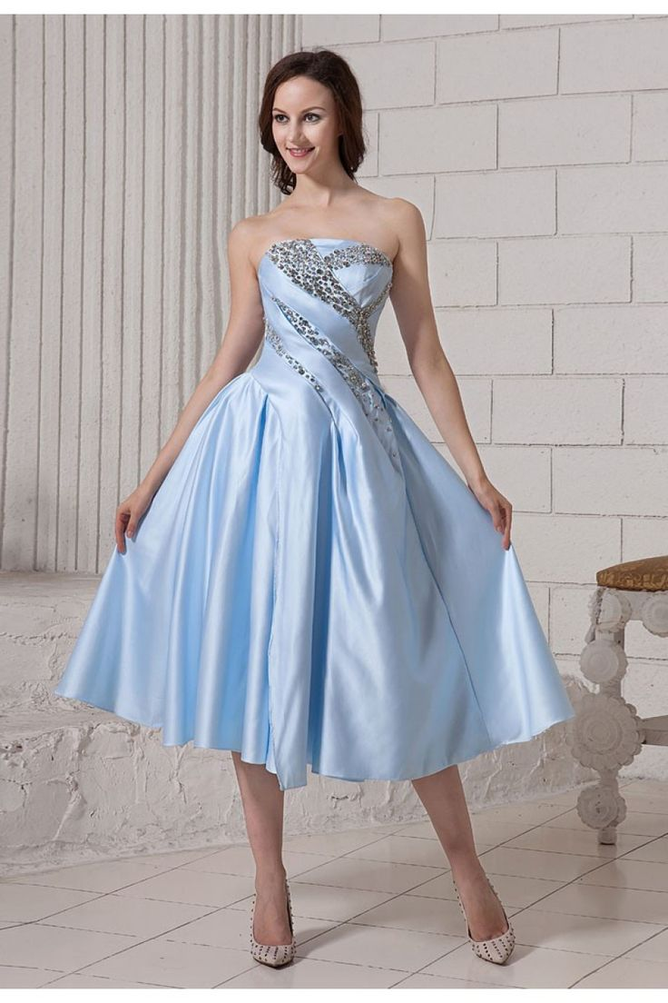 Empire Blau Perlen Satin Knielanges Abiballkleid Günstig $272.99 #mywedding #abiballkleid #günstig #bridal #perlen #empire #knielanges #weddingdress #wedding #satin #blau #bridalgown