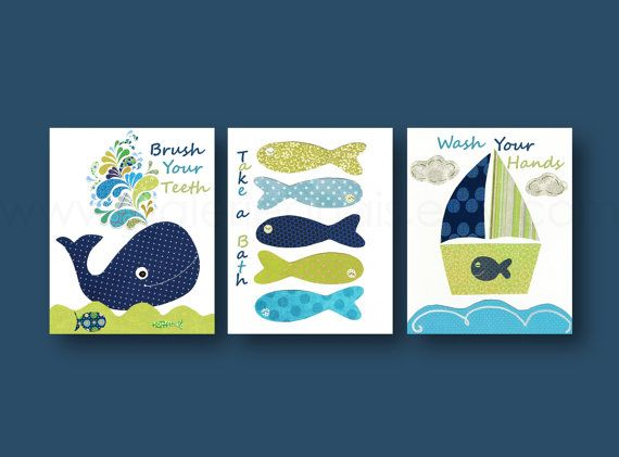 Take a bath Brush your teeth Wash your hands Nursery art nautical whale Boat fish blue navy green bathroom Set of three  prints