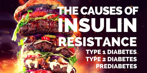 Causes of Insulin Resistance - Insulin resistance underlies all forms of diabetes, and in most cases diabetes is caused by excessive FAT intake.(http://www.mangomannutrition.com/the-causes-of-insulin-resistance-in-type-1-diabetes-type-2-diabetes-and-prediabetes/)