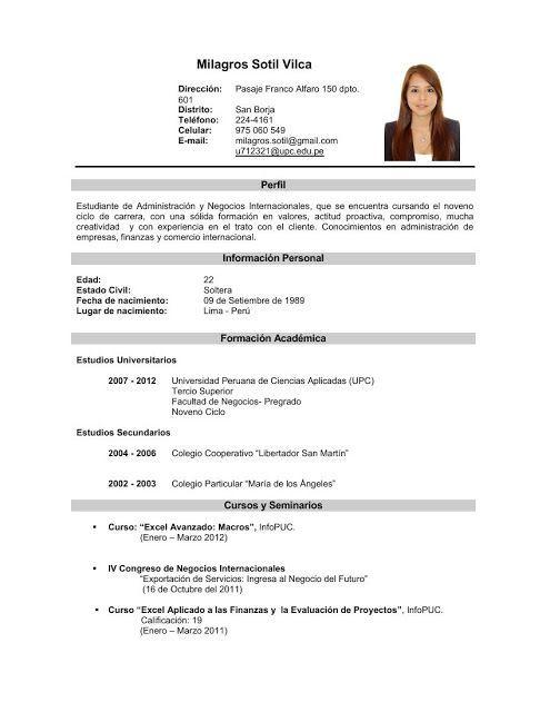 Curriculum Vitae Curriculum Para Primer Trabajo Formato De