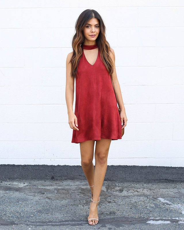 Suede Keyhole Dress - Rust