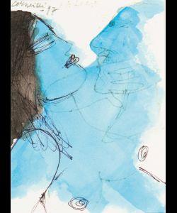 """""""Oui, je baiserai ta bouche, Iokanaan."""" Gesigneerd en gedateerd '97 l.b. Geannoteerd Salomé m.b. Aquarel en inkt op papier, 15.5 x 10.5 cm"""