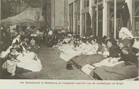 Belgische vluchtelingen in het Schuttershof te Middelburg