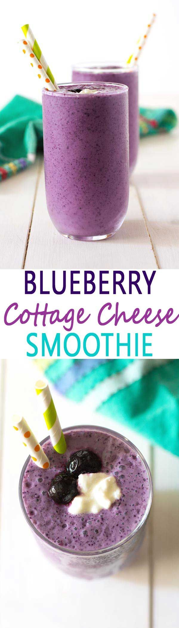 This healthy blueberry cottage cheese smoothie without yogurt almost tastes like blueberry cheesecake!