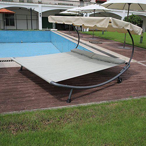 Outdoor Patio Portable Lounger Hammock Bed w/ Cannopy Garden Yard Pool Modern  #Kbrand
