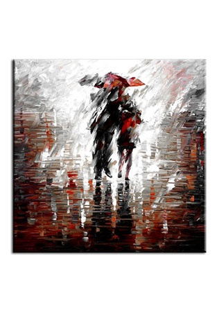 Square Abstract Couple With Umbrella Oil Paint Effect canvas wall printed on to a canvas which would be a great edition to any home.    Size : (W30cm X H30cm) X 1