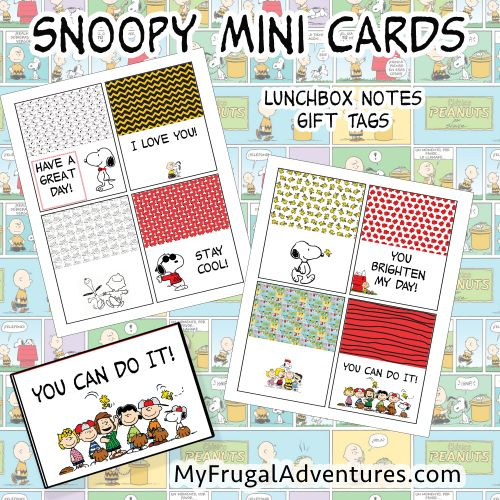 Free printable Peanuts note cards.  Adorable for lunch boxes or little notes of encouragement and reminders for the kids. These would even work on birthday gifts!