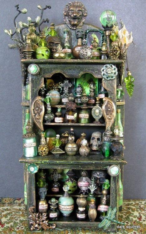 Absinthe Hell, assemblage cupboard by dark squirrel on etsy.