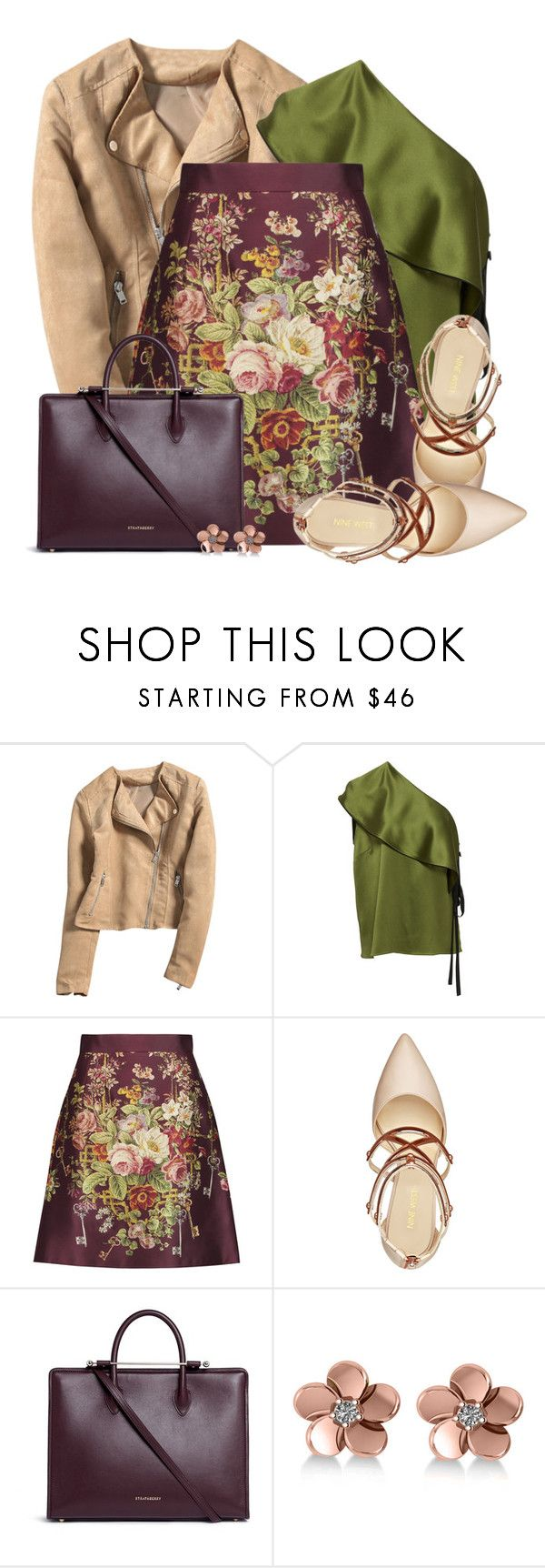 """Dolce & Gabbana Printed silk Mini Skirt"" by colierollers ❤ liked on Polyvore featuring Hellessy, Dolce&Gabbana, Nine West, Strathberry and Allurez"