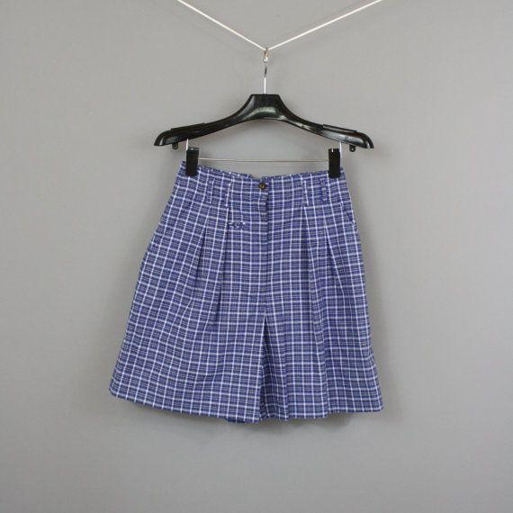 vintage anni 80 blu Plaid alte sciancrati pieghe corti / 1980s NWT Abercrombie & Fitch Cotone mamma pantaloncini / piccolo