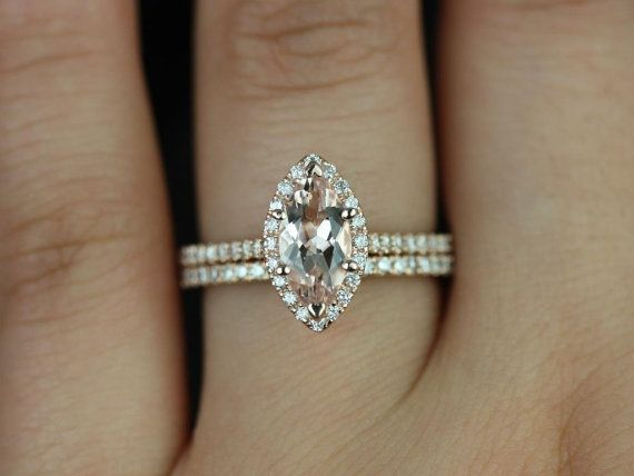 Sasha 14kt Rose Gold Marquise Morganite and Diamonds Halo