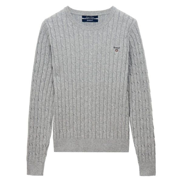 GANT Dam Cotton Cable Tröja Grey Melange | Officiell Sida