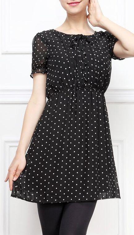 Black Polka Dot Pleated Dress
