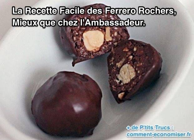 La recette des Ferrero Rochers est très facile. C'est d'ailleurs assez surprenant ! Vous allez pouvoir en faire chez vous sans problème avec ou sans les enfants.  Découvrez l'astuce ici : http://www.comment-economiser.fr/recette-ferrero-rochers-facile.html?utm_content=bufferf93ed&utm_medium=social&utm_source=pinterest.com&utm_campaign=buffer