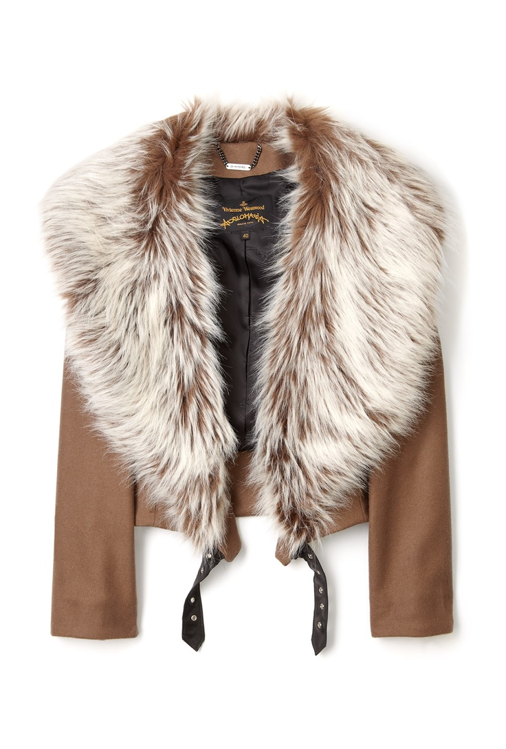 Vivienne Westwood Anglomania                    Beige Huggish Faux Fur Collar Bomber Jacket