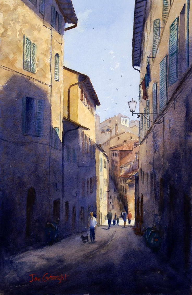 Watercolor artists directory wiki - Siena Italy Watercolor By Joe Cartwright