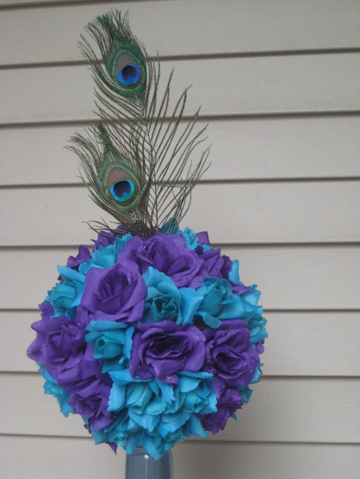 peacock centerpiece pomander jamie 39 s wedding pinterest colors peacocks and peacock. Black Bedroom Furniture Sets. Home Design Ideas