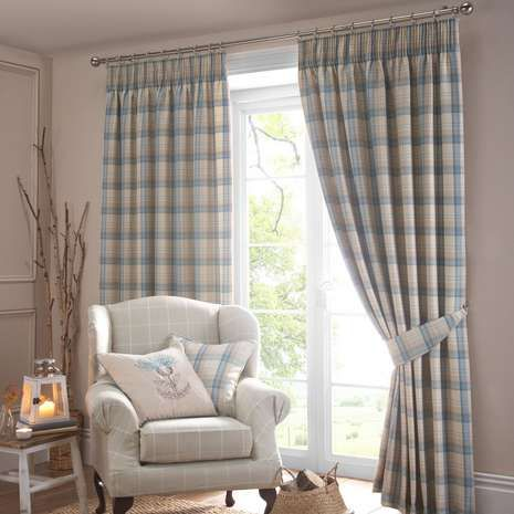 Ready made with lining to reduce unwanted external noise and light, these duck egg blue pencil pleat curtains are checked with a tartan styled pattern, availabl...
