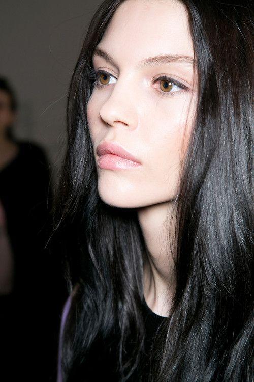 Pale Beauty Portrait Of Blond Woman Stock Image: Black Hair Makes Hazel Eyes POP!! #beauty #makeup ( Her