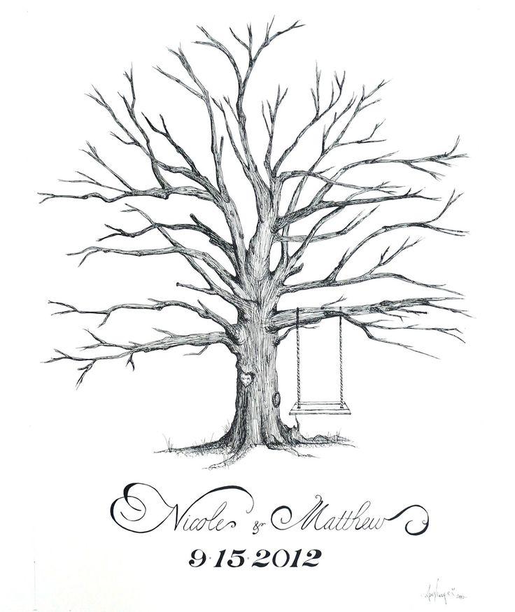 "Have dad draw...Custom Drawn Thumbprint ""Love Tree"" - Alternative Guest Book for Weddings. $115.00, via Etsy."