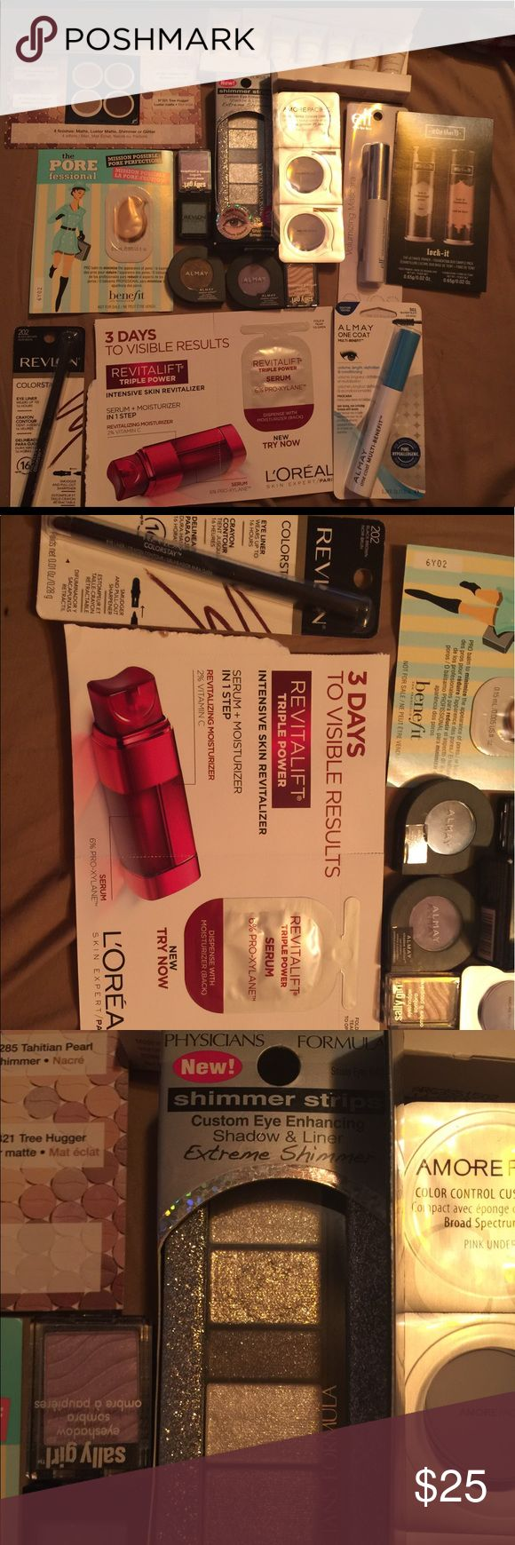 15 piece makeup skincare bundle new! New makeup bundle never used new with tag never opened and samples including arbonne anti aging , sephora colorful eyeshadow, the pore fessional , amore pacific , kat von d lock it foundation sample, L'Oréal skin care revitalift . The makeup is full size (not samples ) brand new never opened that include Almay one coat multi mascara 501 blackest black , revlon color 202 black brown eyeliner, 2 Almay eyeshadow,1 revlon eyeshadow ,2 Sally girl eyeshadow…
