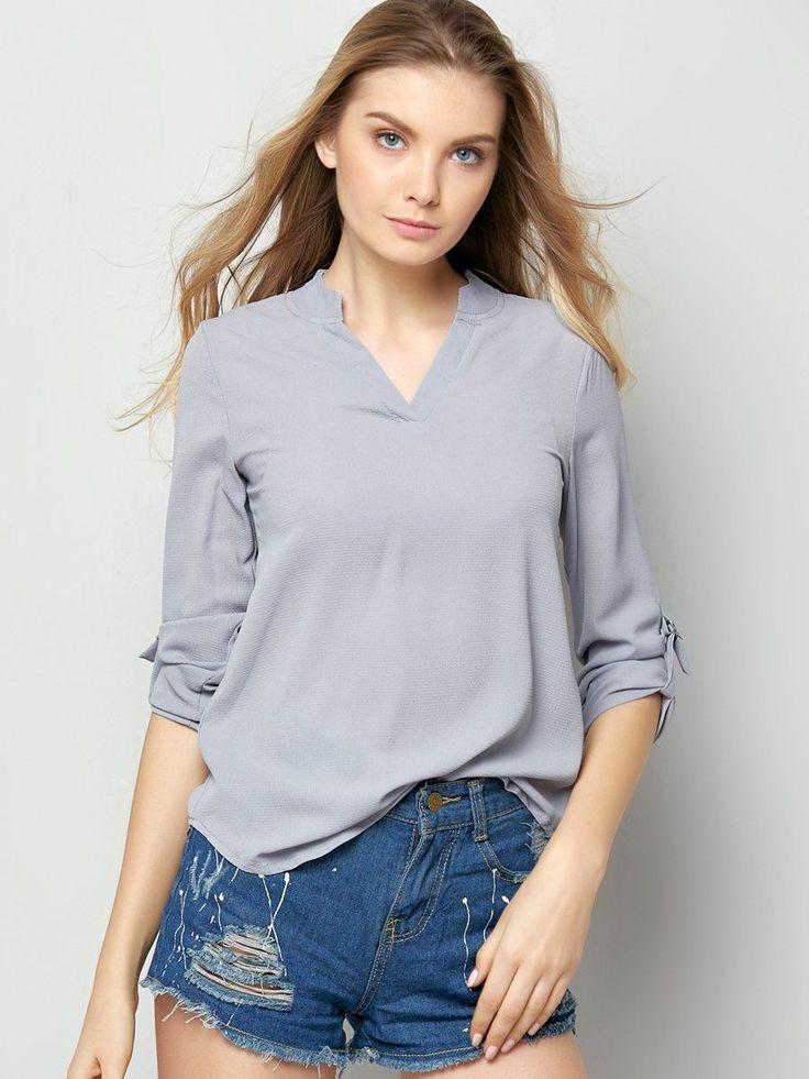 Designed Plain Chic V Neck Blouses