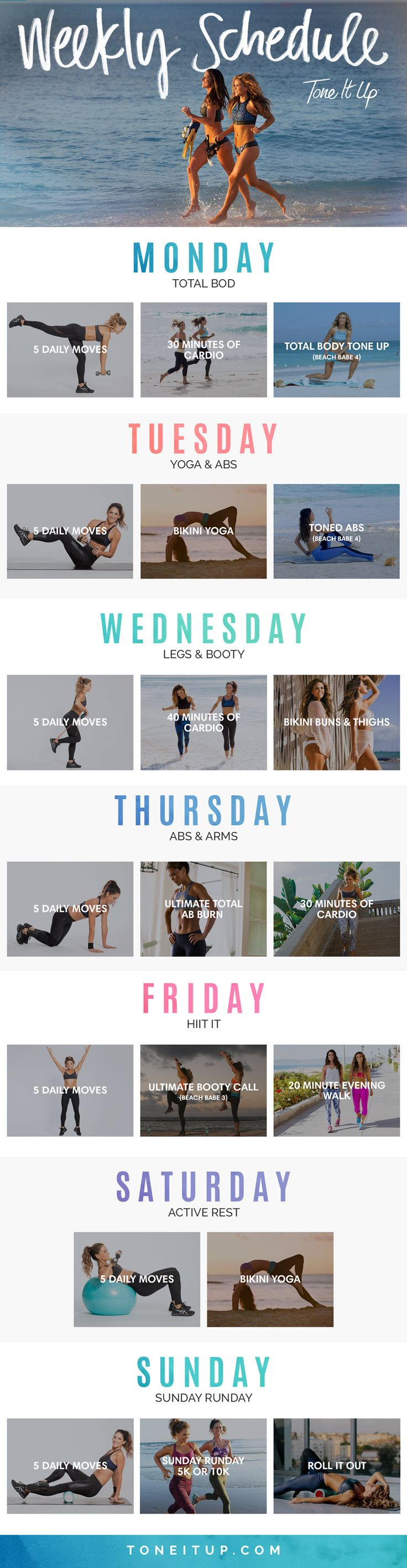 Your weekly workout schedule!! You'll love that there's literally no guesswork involved. We created this combination of workouts to get you FIT, FAST!