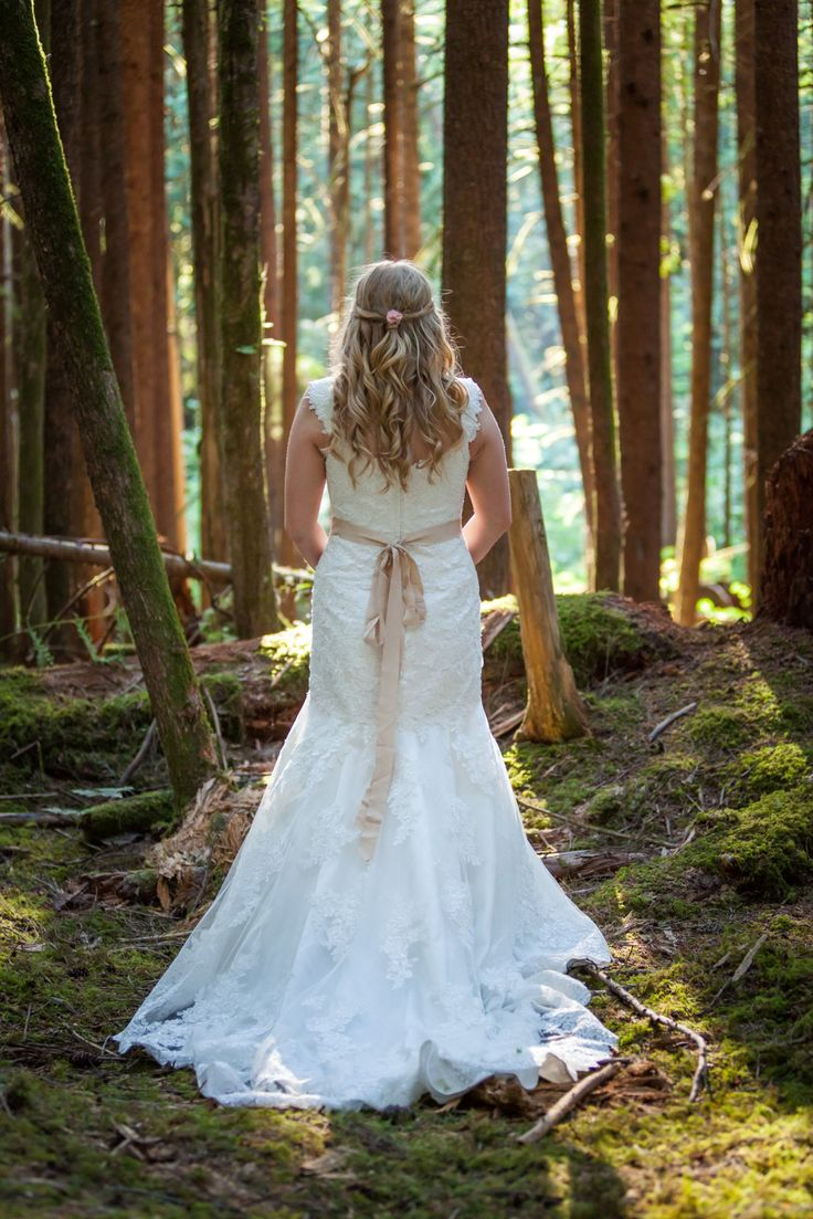 I love the forests of British Columbia. This was my dream wedding. Bride. Wedding dress. Essense of Australia d1617.