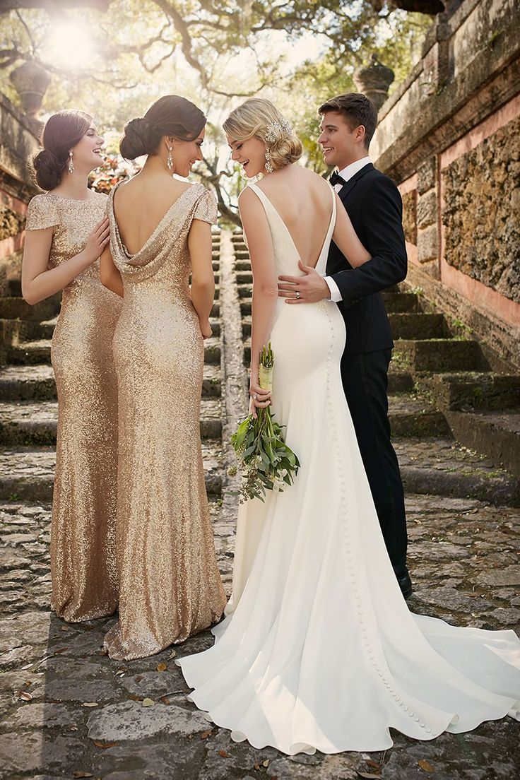 Best 25 sparkle bridesmaid dresses ideas on pinterest gold classic yet modern look to this crepe sheath silhouette bridal gown from essense of australia ombrellifo Images