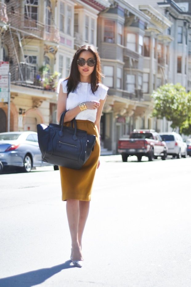 9to5Chic: Snakeskin: Fashion, Celine Bags, Yellow Skirts, Cap Sleeve, Mustard Skirts, Pencil Skirts, Work Outfits, White Blouses, Business Chic