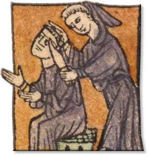 Monk receiving tonsure