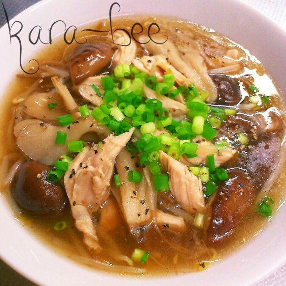 本気ダイエットレシピ♡とろみで満足ささみときのこの中華スープ
