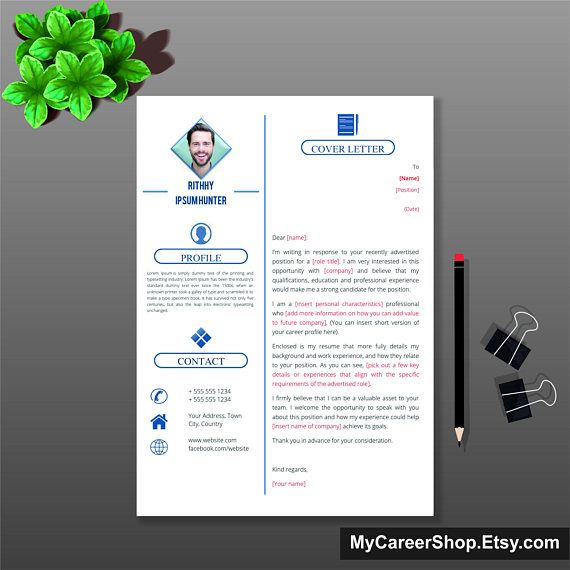 Digital Cover Letter Template, Cover Letter, Letterhead, Letterhead Design, Word Cover Letter Template, Simple Letterhead, Instant Download,